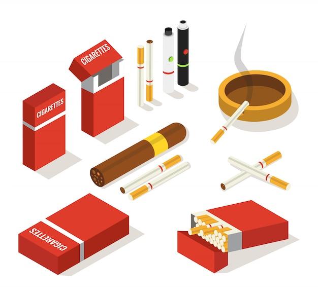 Set isometrico di sigarette, sigari, vaporizzatori Vettore Premium
