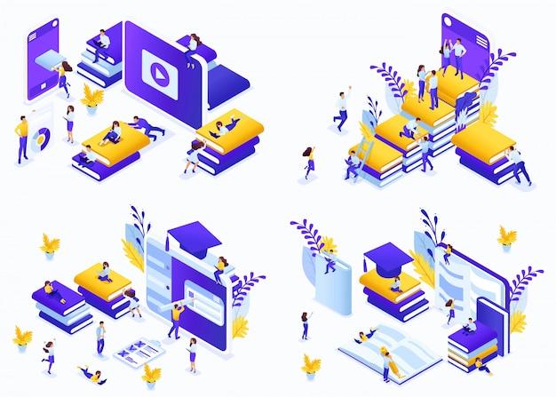 Isometrica set concept e-learning, opportunità per gli studenti di tutto il mondo di ricevere un'istruzione gratuita ea pagamento. concetti di illustrazione moderna per sito web Vettore Premium