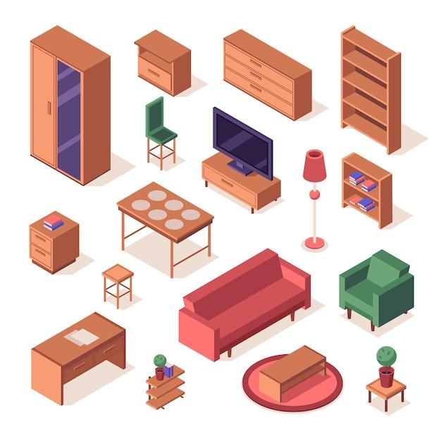 Set isometrico di mobili da soggiorno. Vettore Premium