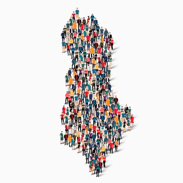 Insieme isometrico di persone che formano la mappa dell'albania Vettore Premium