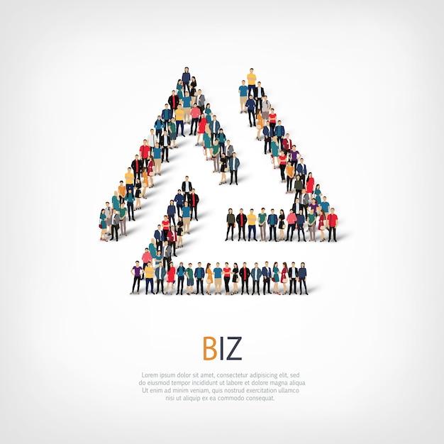 Insieme isometrico di stili, illustrazione di concetto di infographics di web di una piazza affollata. gruppo di punti folla che forma una forma predeterminata. persone creative. Vettore Premium