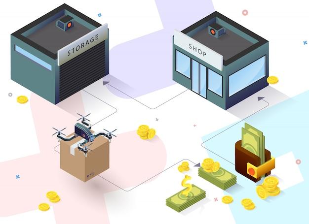Edificio isometrico con consegna di droni e denaro Vettore Premium