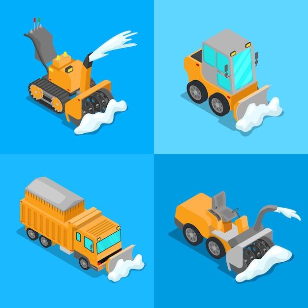 Set di trasporto isometrico di rimozione della neve con camion spazzaneve e trattore. vector 3d illustrazione piatta Vettore Premium
