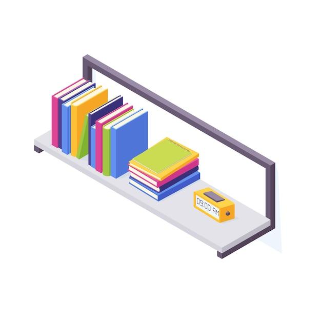 Pile isometriche di libri con illustrazione con copertina rigida Vettore Premium