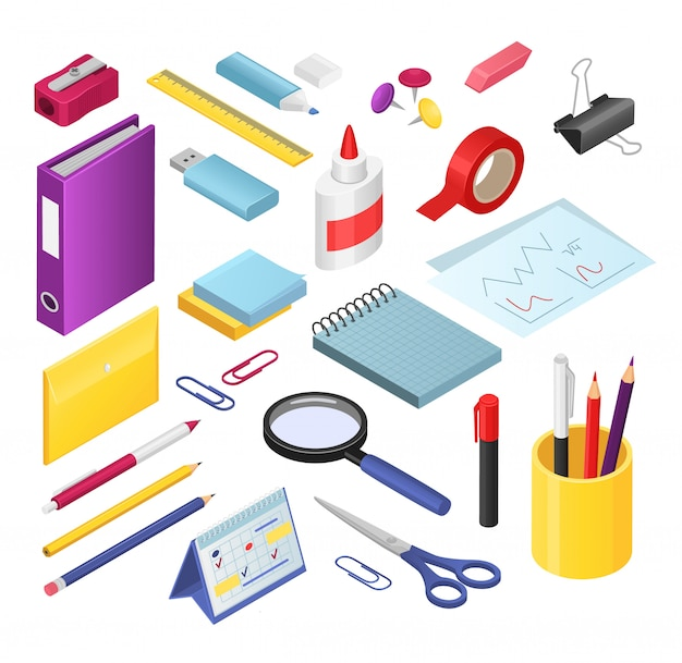 Set di illustrazioni di cancelleria isometrica, forniture di strumenti di cancelleria per ufficio o scuola di cartone animato, penna o pennarello, gomma, temperamatite Vettore Premium