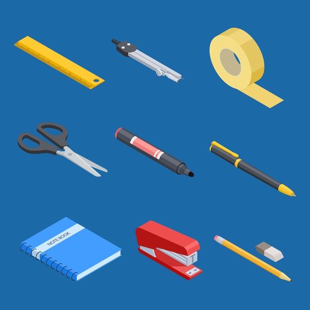 Set di strumenti di cancelleria e ufficio isometrica Vettore Premium
