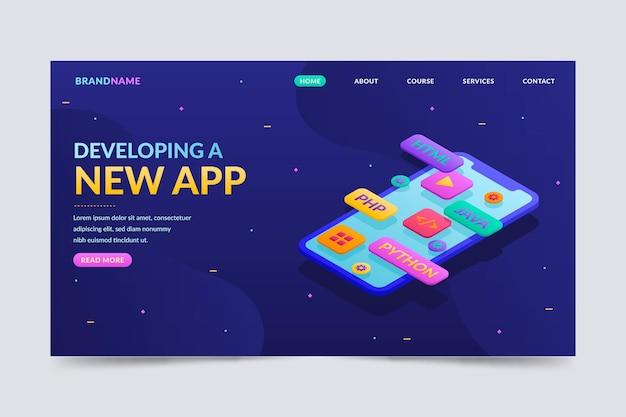 Pagina di destinazione per lo sviluppo di app in stile isometrico Vettore Premium