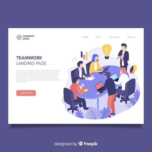 Modello di pagina di destinazione isometrica di lavoro di squadra Vettore Premium