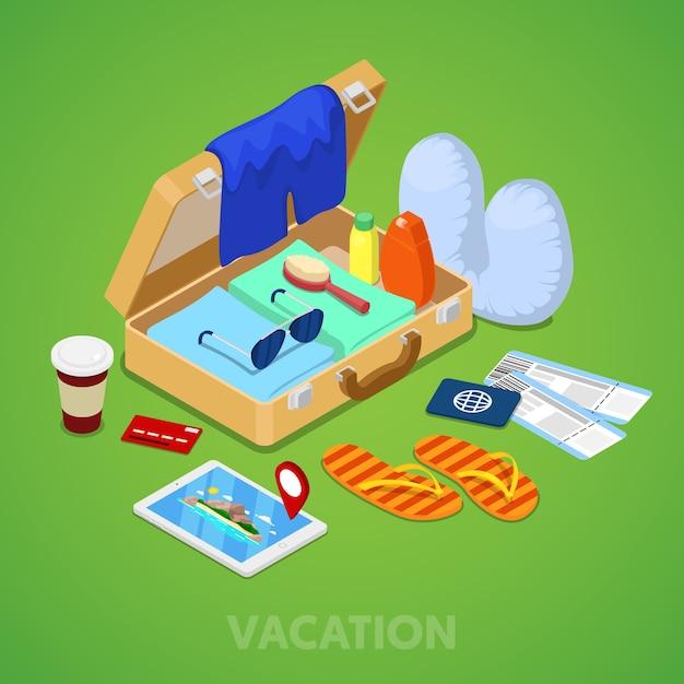 Concetto di vacanza viaggio isometrica. valigia con passaporto, biglietti e abbigliamento estivo. vector 3d illustrazione piatta Vettore Premium