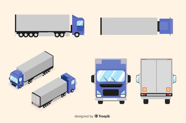 Raccolta di prospettive di camion isometrica Vettore Premium