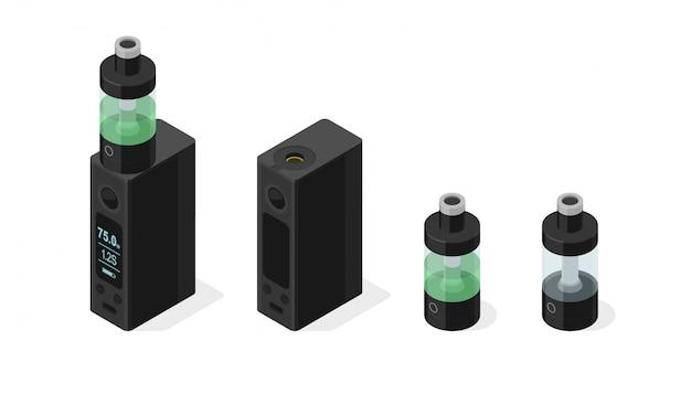 Insieme di vettore isometrico di sigaretta elettronica e vaping e-liquid nel serbatoio dell'atomizzatore. dispositivo a tensione variabile del vaporizzatore personale moderno box mod Vettore Premium