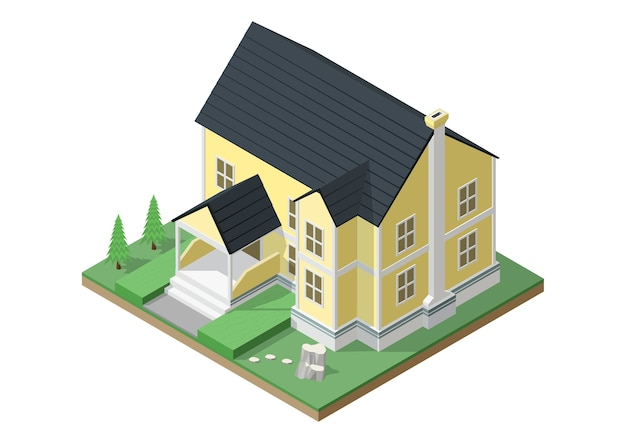 Isometrica della casa in stile vittoriano. Vettore Premium