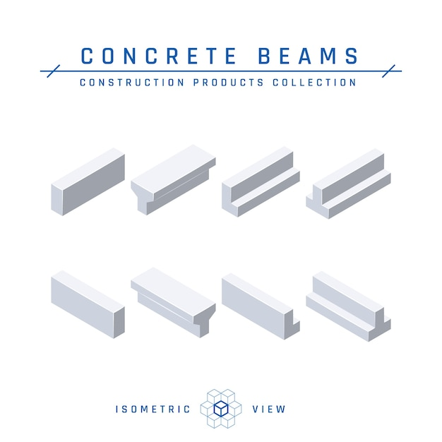 Vista isometrica di travi in cemento in stile piatto. Vettore Premium