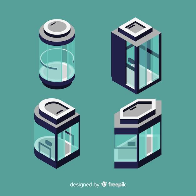 Vista isometrica della moderna collezione di ascensori Vettore Premium