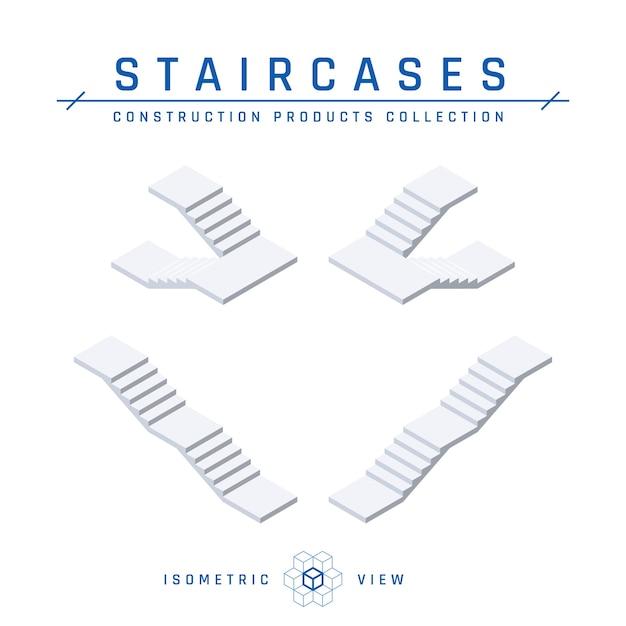Vista isometrica delle scale in stile piatto. Vettore Premium