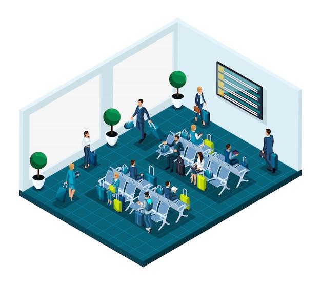 Sala d'attesa isometrica per un aeroporto internazionale, donne e uomini d'affari in viaggio d'affari, passeggeri con bagagli in attesa di un volo per l'aereo Vettore Premium