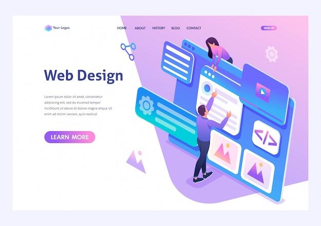 I giovani isometrici sono impegnati nel web design, nello sviluppo di pagine web. pagina di destinazione modello per sito web Vettore Premium