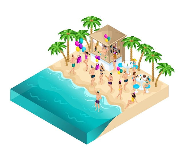Isometria che balla sulla spiaggia, festa, festa di compleanno, Vettore Premium