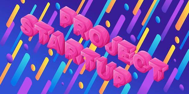 Isometria dinamica luminosa con lettere volumetriche, progetto di avvio, illustrazione per isometrica Vettore Premium