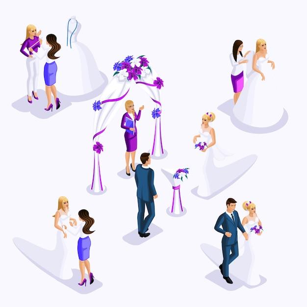 L'isometria è una cerimonia di matrimonio in uscita, la sposa e lo sposo. preparazione della sposa per il matrimonio, abiti di design laboratorio di cucito, atelier costoso Vettore Premium