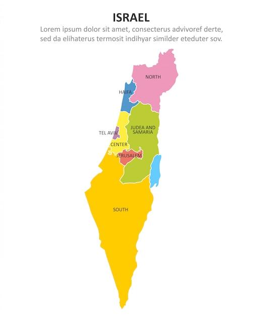 Cartina Politica Israele.Israele Mappa Multicolore Con Regioni Vettore Premium