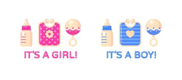 È una ragazza, è un set da ragazzo con bottiglia di latte, bavaglino e sonaglio. elemento di design baby shower. Vettore Premium