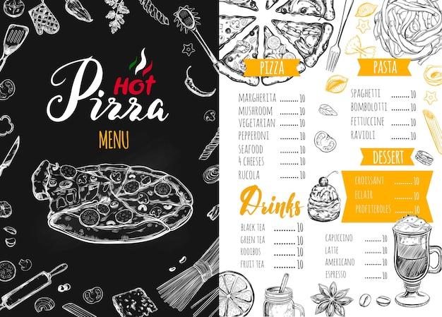 Menu di cibo italiano per un ristorante Vettore Premium