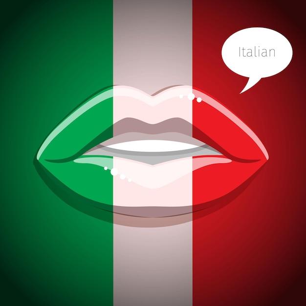Concetto di lingua italiana. labbra glamour con il trucco della bandiera italiana Vettore Premium