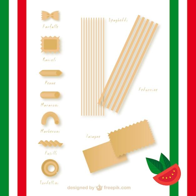 Pasta italiana Vettore Premium