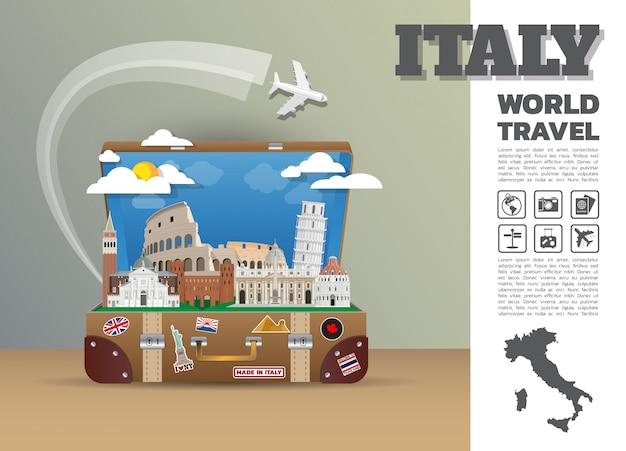 Modello di viaggio in italia Vettore Premium