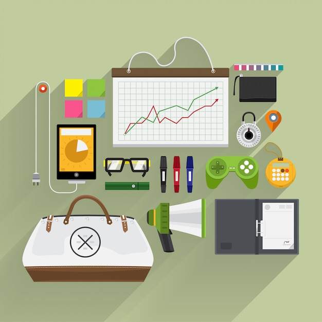 Stile di vita e marketing degli articoli in vista dall'alto per piattaforma e longshadow Vettore Premium