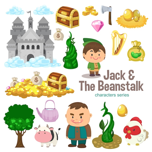 Jack e the beanstalk character series Vettore Premium