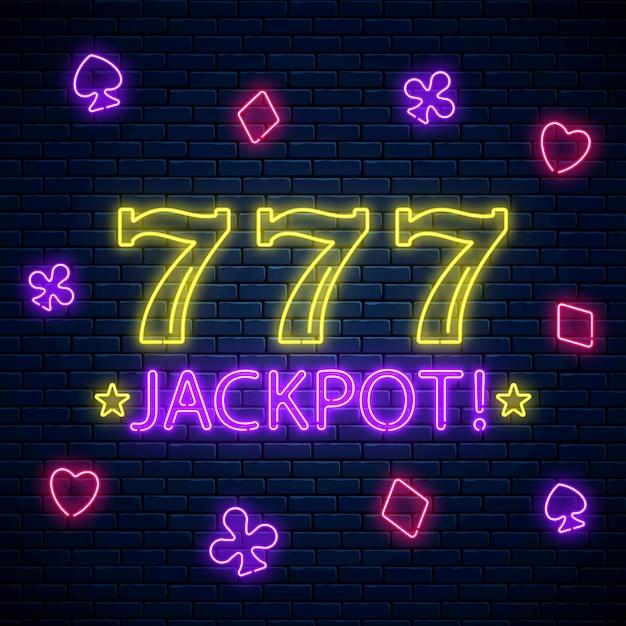 Jackpot - segno di motivazione al neon incandescente con tre sette sulla slot machine. combinazione di vincite per slot machine 777 in stile neon. Vettore Premium
