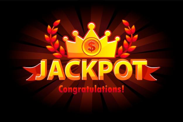 Etichetta del lotto del casinò con jackpot in oro con corona. premi del vincitore del jackpot del casinò con testo dorato e nastro rosso. oggetti su livelli separati. Vettore Premium