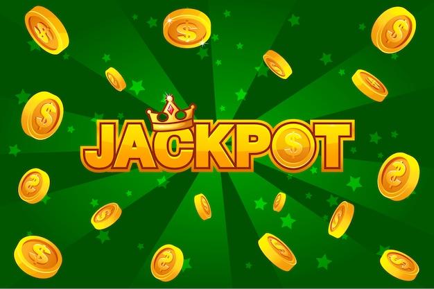 Jackpot e monete d'oro su backgroundon verde, per l'elemento ui game Vettore Premium