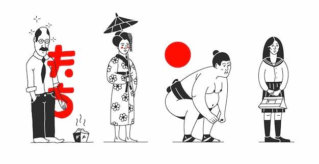Giappone. illustrazione del fumetto con i popoli asiatici. caratteri giapponesi, sfondo bianco. uomo, donna, lottatore di sumo, studentessa. stile contorno. Vettore Premium