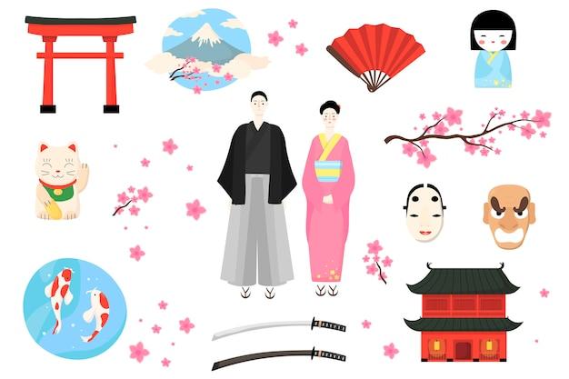 Icona del giappone, illustrazione del popolo giapponese, personaggio dei cartoni animati uomo donna in costume tradizionale, set di cultura asiatica isolato su bianco Vettore Premium
