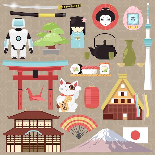 Cultura giapponese del giappone e architettura o sushi orientale di cucina nell'illustrazione di tokyo Vettore Premium