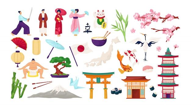 Viaggio in giappone e cultura giapponese insieme di illustrazioni. simboli tradizionali dell'architettura giapponese, porta torii, sakura, geisha e samurai. lanterna, fuji, sushi e carpe koi. Vettore Premium