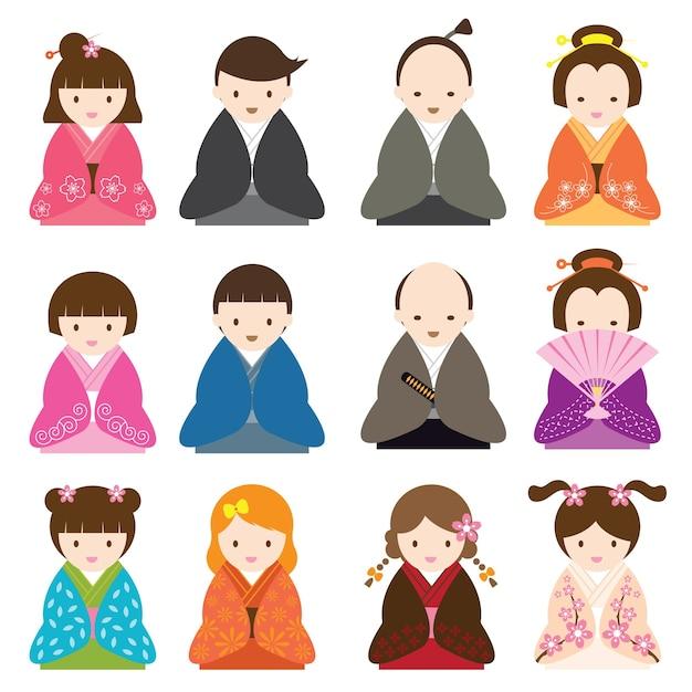 Personaggio dei cartoni animati giapponese vestito in costume tradizionale Vettore Premium