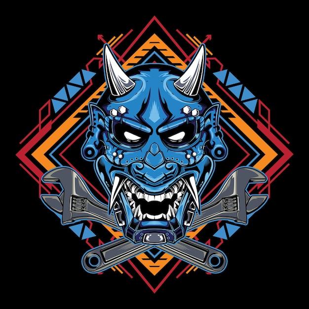 Maschera da diavolo giapponese hannya con emblema della grande chiave inglese Vettore Premium
