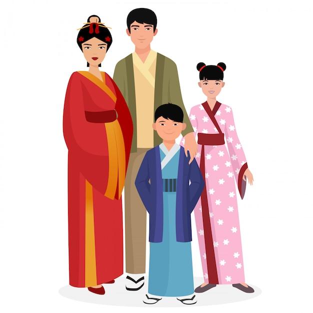Famiglia giapponese in abiti tradizionali Vettore Premium