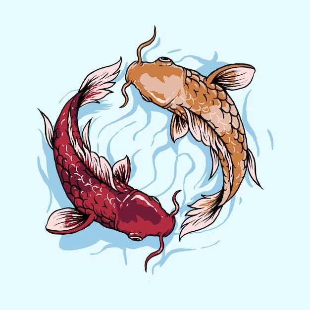 Illustrazione di pesce giapponese Vettore Premium