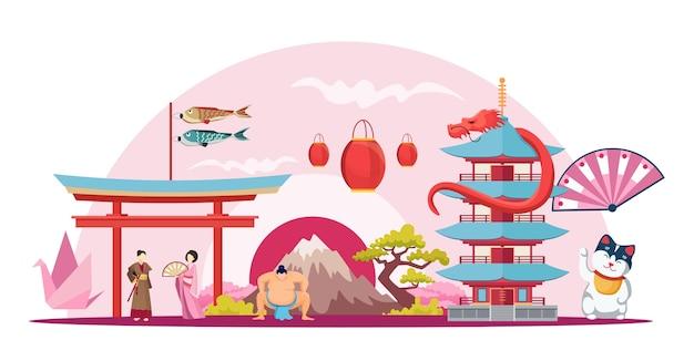 Tempio giapponese di montagna fuji maneki neko con composizione pagoda santuario di itsukushima con lottatore di sumo e geisha giappone fumetto creativo sfondo orizzontale Vettore Premium