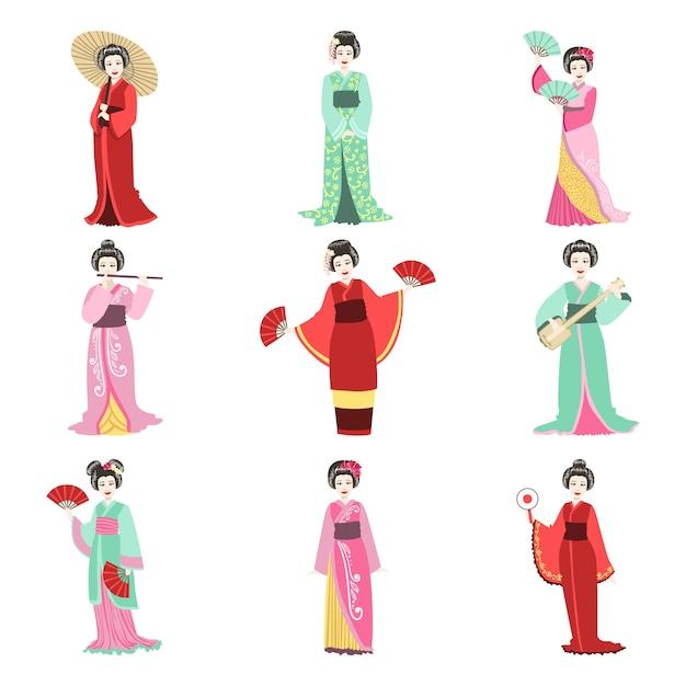 Geisha giapponese in diversi set di kimono Vettore Premium
