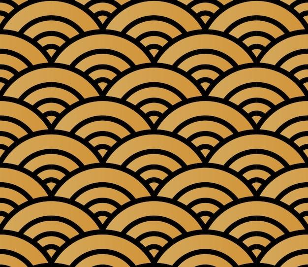 Immagine di sfondo senza cuciture dorata del modello di stile giapponese onda rotonda della scala trasversale della curva Vettore Premium