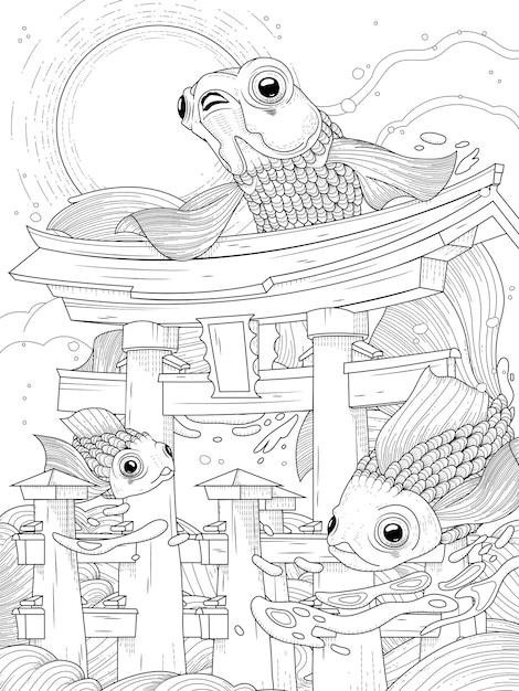 Torii giapponesi in mare; con luna e pesci d'oro, in bianco e nero Vettore Premium