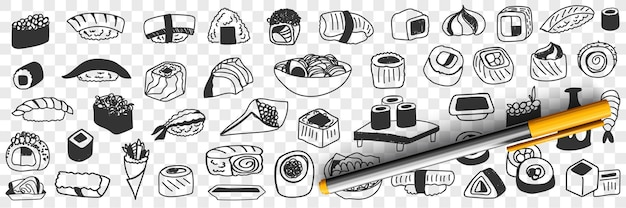 Insieme di doodle di cibi tradizionali giapponesi Vettore Premium