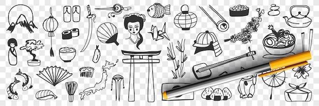 Insieme di doodle di simboli tradizionali giapponesi Vettore Premium