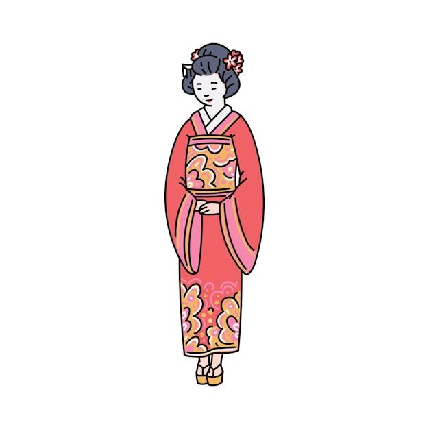 Donna giapponese in vestiti tradizionali rossi o personaggio dei cartoni animati di kimono, illustrazione di schizzo su priorità bassa bianca. simbolo della cultura orientale asiatica. Vettore Premium